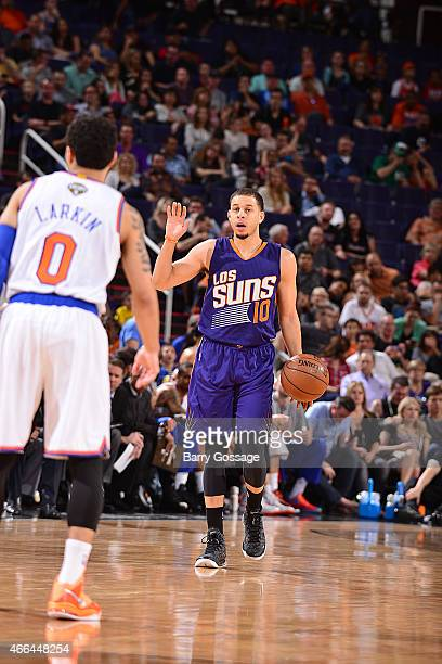 Seth Curry of the Phoenix Suns handles the ball during the game against the New York Knicks on March 15 2015 at US Airways Center in Phoenix Arizona...