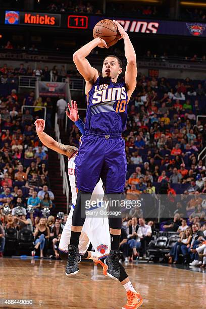 Seth Curry of the Phoenix Suns shoots against the New York Knicks on March 15 2015 at US Airways Center in Phoenix Arizona NOTE TO USER User...