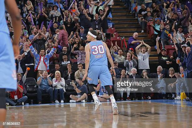 Seth Curry of the Sacramento Kings celebrates during the game against the Miami Heat on April 1 2016 at Sleep Train Arena in Sacramento California...