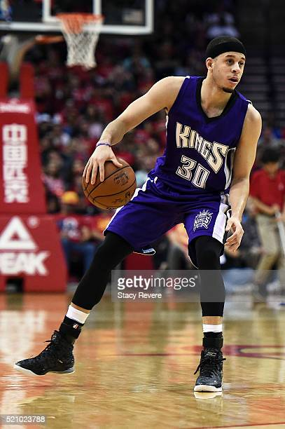 Seth Curry of the Sacramento Kings handles the ball during the second half of a game against the Houston Rockets at the Toyota Center on April 13...