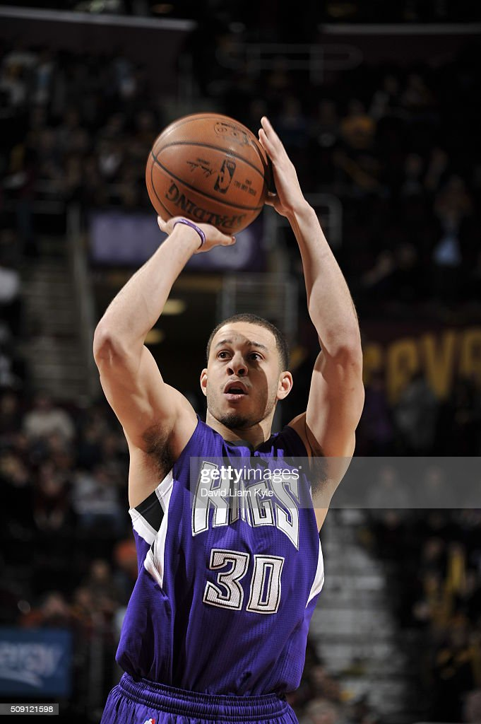 <a gi-track='captionPersonalityLinkClicked' href=/galleries/search?phrase=Seth+Curry&family=editorial&specificpeople=5945068 ng-click='$event.stopPropagation()'>Seth Curry</a> #30 of the Sacramento Kings prepares to shoot a free throw against the Cleveland Cavaliers on February 8, 2016 at Quicken Loans Arena in Cleveland, Ohio.