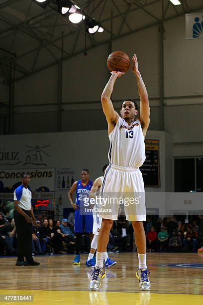 Seth Curry of the Santa Cruz Warriors shoots a free throw against the Delaware 87ers on March 7 2014 at Kaiser Permanente Arena in Santa Cruz...