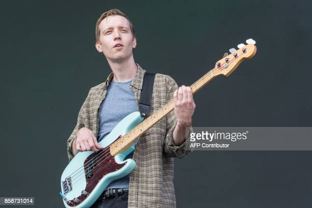 Seth Dalby bassist of Car Seat Headrest performs on Day 2 of the 2017 ACL Music Festival held at Zilker Park in Austin Texas on October 7 2017 / AFP...