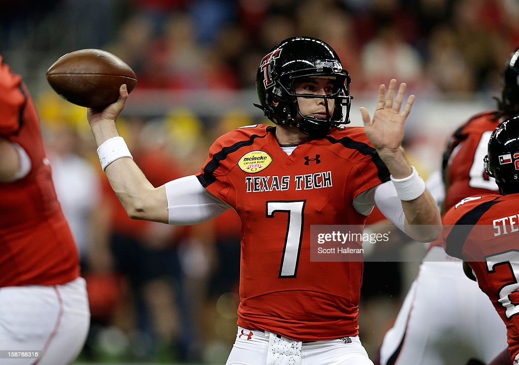 Seth Doege #7 of Texas Tech looks to pass against Minnesota during the Meineke Car Care of Texas Bowl at Reliant Stadium on December 28, 2012 in Houston, Texas.