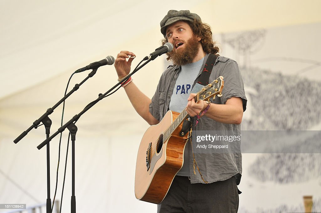 Seth Faergolzia of the band Dufus performs on stage during End Of The Road Festival 2012 at Larmer Tree Gardens on September 1, 2012 in Salisbury, United Kingdom.