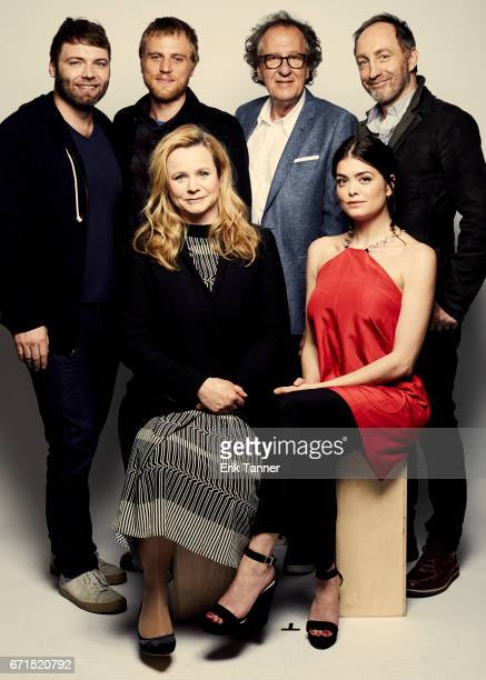 Seth Gabel Johnny Flynn Geoffrey Rush Michael McElhatton Emily Watson and Samantha Colley from 'Genius' pose at the 2017 Tribeca Film Festival...
