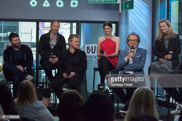 Seth Gabel Michael McElhatton Johnny Flynn Samantha Colley Geoffrey Rush and Emily Watson attend the Build Series to discuss the series 'Genius' at...