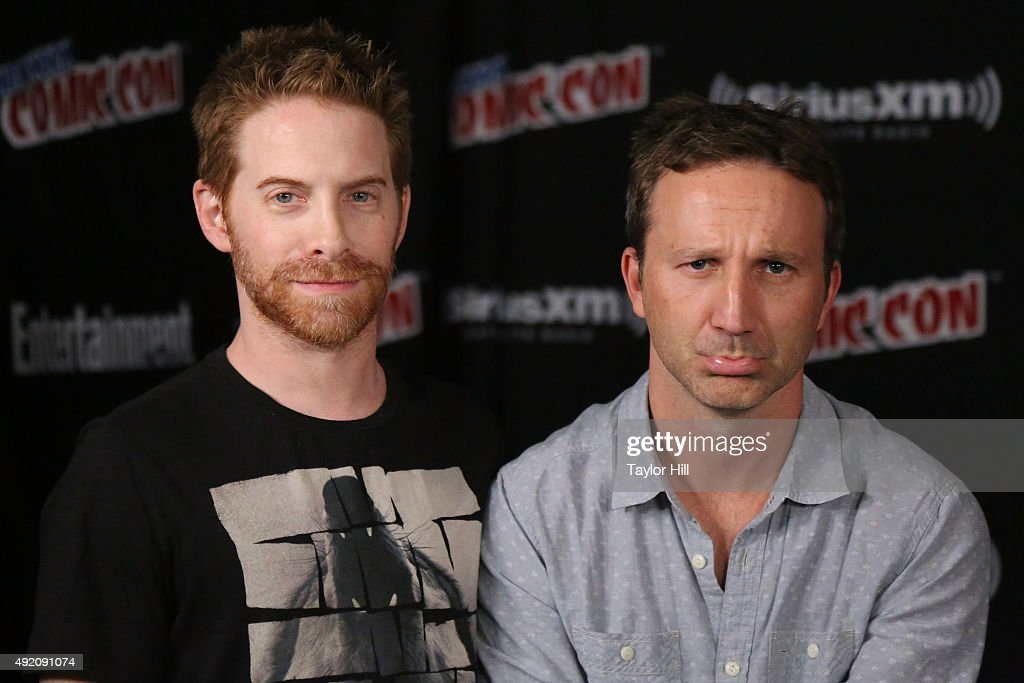Seth Green and Breckin Meyer visit the SiriusXM Studios during New York Comic-Con at The Jacob K. Javits Convention Center on October 9, 2015 in New York City.