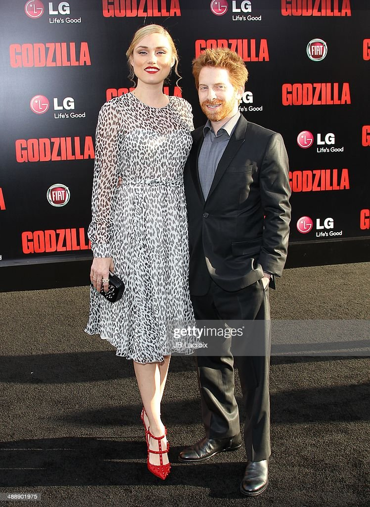 Seth Green and Clare Grant attend the 'Godzilla' Los Angeles premiere on May 8, 2014 in Hollywood, California.