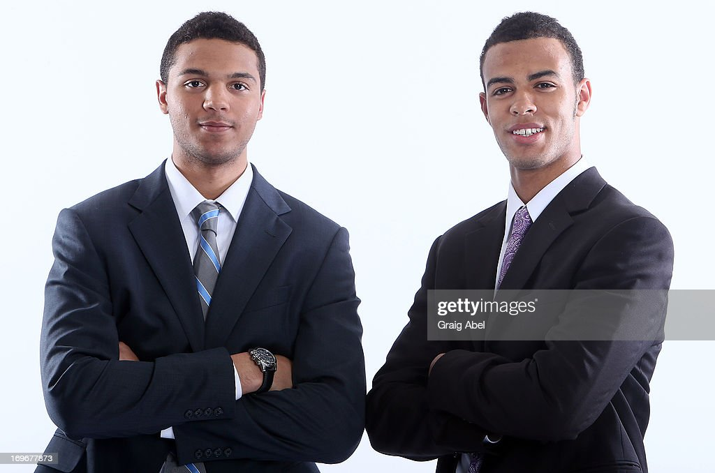 Seth Jones and Darnell Nurse have their formal portrait taken during the 2013 NHL Combine May 30, 2013 at the Westin Bristol Place Hotel in Toronto, Ontario, Canada.