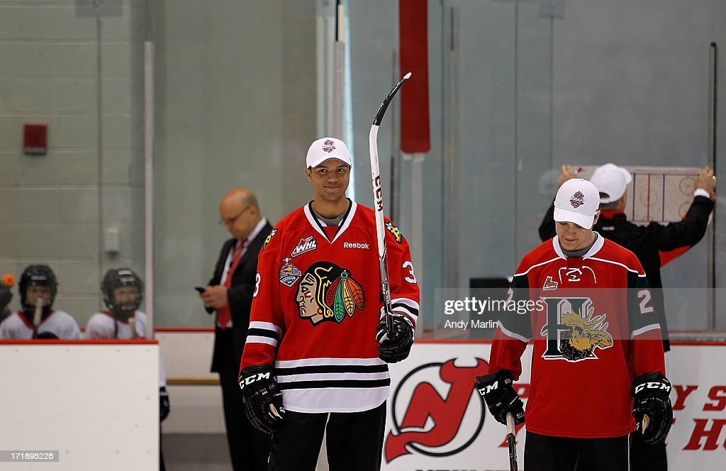 Seth Jones and Jonathan Drouin attend the 2013 NHL Draft - Top Prospects Clinic at Prudential Center on June 29, 2013 in Newark, New Jersey.
