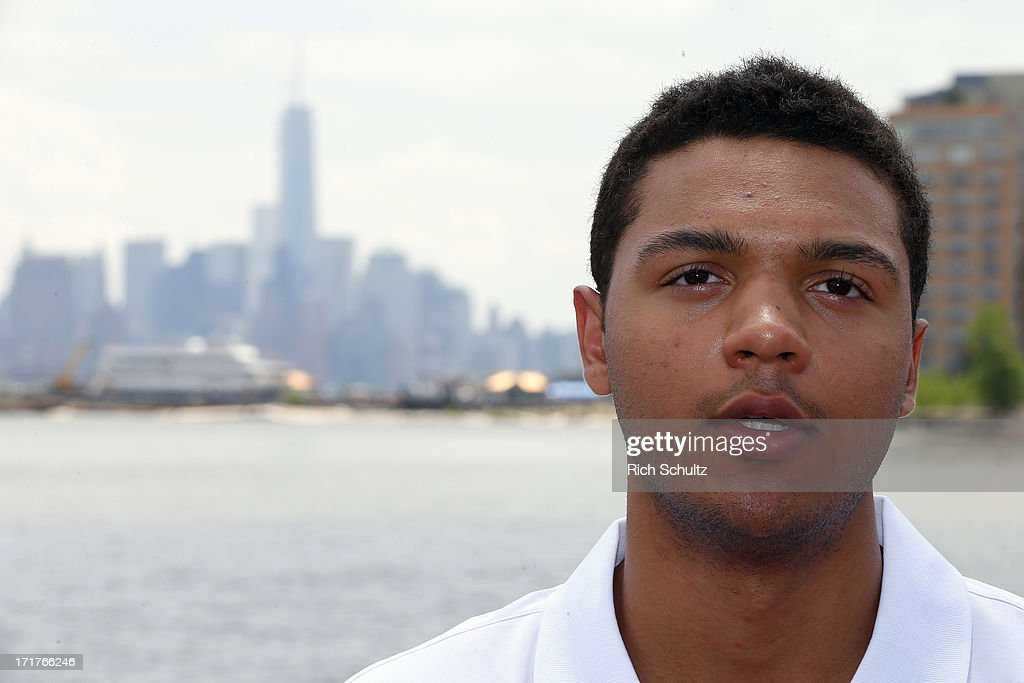 Seth Jones during a media availability on June 28, 2013 in Weehawken, New Jersey. The NHL will be holding it's player draft Sunday at the Prudential Center in Newark.