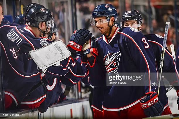 Seth Jones of the Columbus Blue Jackets celebrates after scoring a goal against the Florida Panthers on February 27 2016 at Nationwide Arena in...