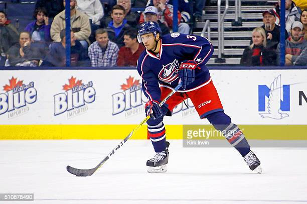 Seth Jones of the Columbus Blue Jackets controls the puck during the game against the Boston Bruins on February 16 2016 at Nationwide Arena in...
