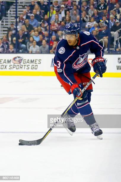 Seth Jones of the Columbus Blue Jackets controls the puck during the game against the New York Islanders on October 6 2017 at Nationwide Arena in...