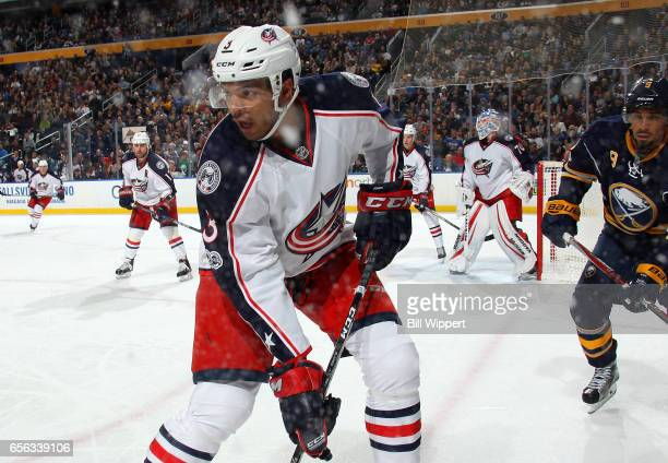 Seth Jones of the Columbus Blue Jackets skates against the Buffalo Sabres during an NHL game at the KeyBank Center on March 11 2017 in Buffalo New...