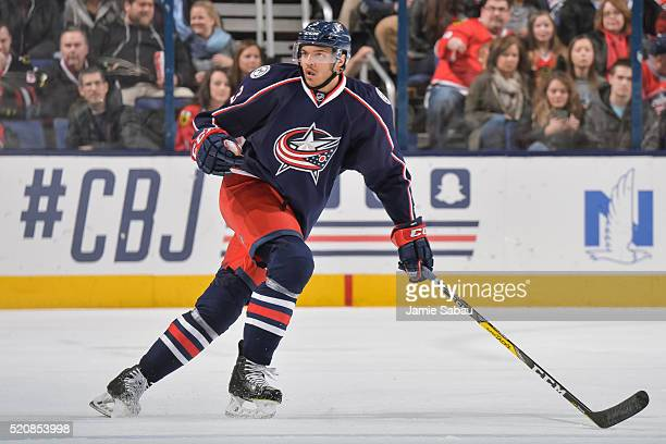 Seth Jones of the Columbus Blue Jackets skates against the Chicago Blackhawks on April 9 2016 at Nationwide Arena in Columbus Ohio