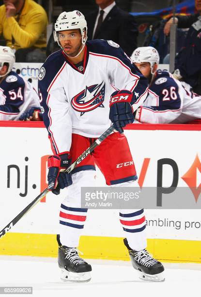 Seth Jones of the Columbus Blue Jackets skates against the New Jersey Devils during the game at Prudential Center on March 19 2017 in Newark New...