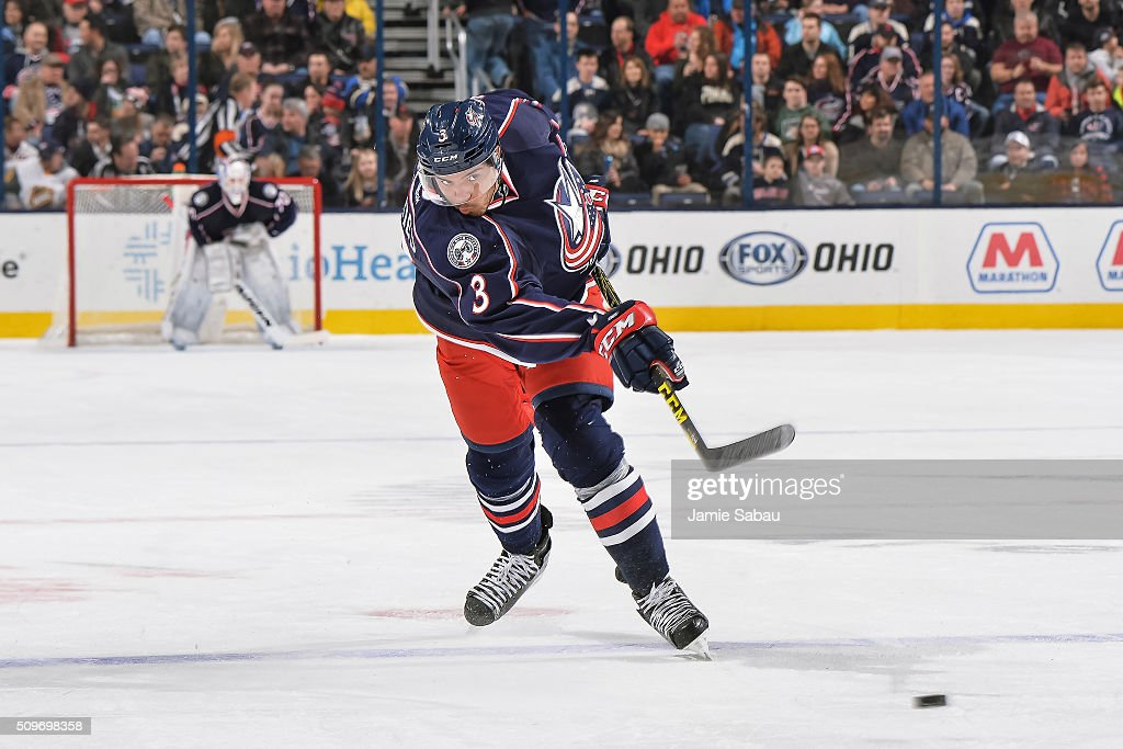 Seth Jones of the Columbus Blue Jackets skates against the New York Islanders on February 9 2016 at Nationwide Arena in Columbus Ohio