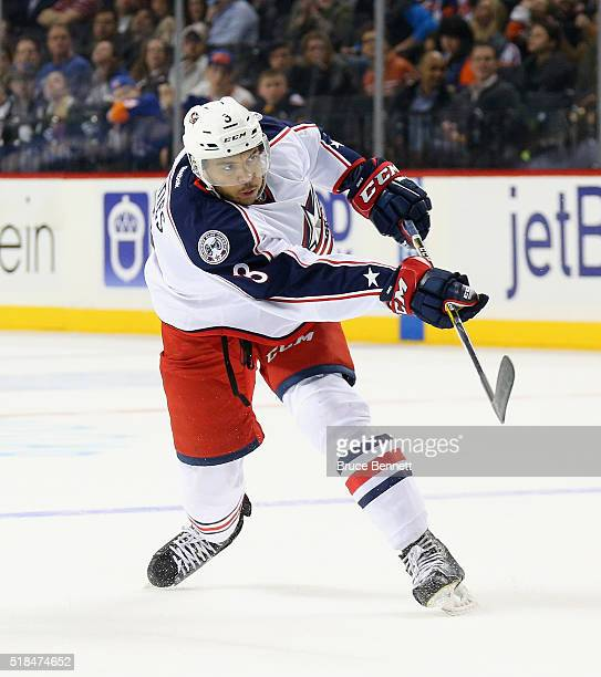 Seth Jones of the Columbus Blue Jackets skates against the New York Islanders at the Barclays Center on March 31 2016 in the Brooklyn borough of New...