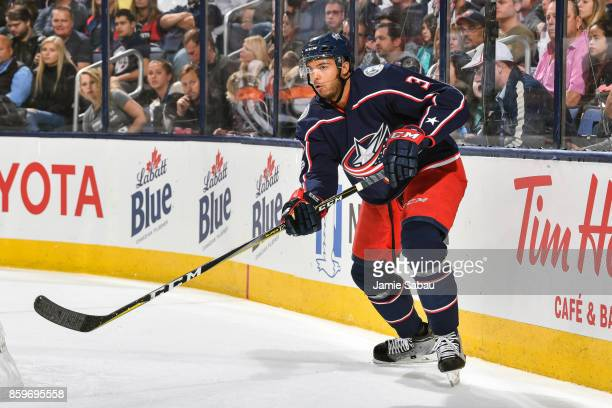 Seth Jones of the Columbus Blue Jackets skates against the New York Islanders on October 6 2017 at Nationwide Arena in Columbus Ohio