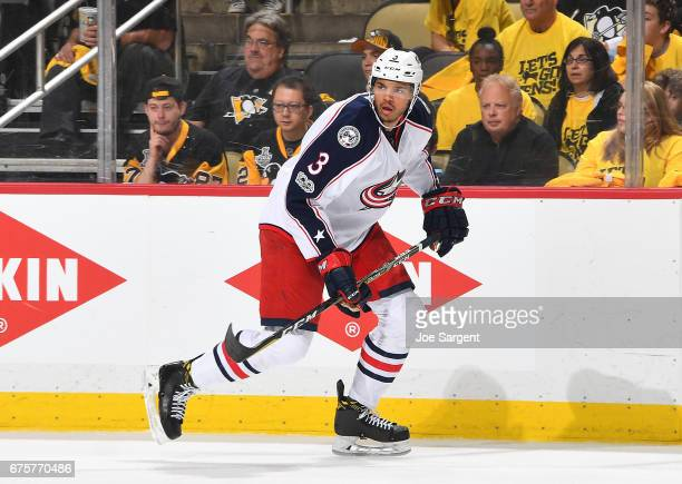 Seth Jones of the Columbus Blue Jackets skates against the Pittsburgh Penguins in Game Five of the Eastern Conference First Round during the 2017 NHL...