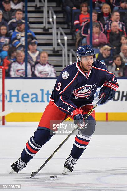 Seth Jones of the Columbus Blue Jackets skates with the puck during the first period of a game against the Carolina Hurricanes on January 9 2016 at...