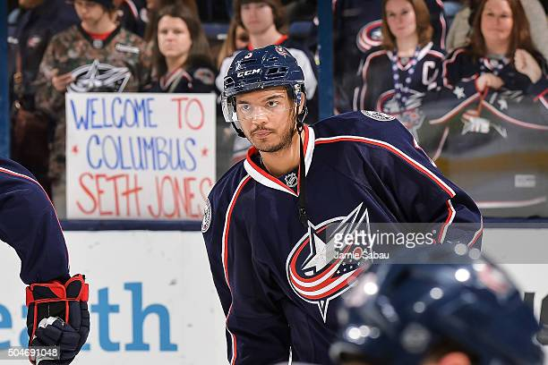 Seth Jones of the Columbus Blue Jackets warms up before a game against the Carolina Hurricanes on January 9 2016 at Nationwide Arena in Columbus Ohio
