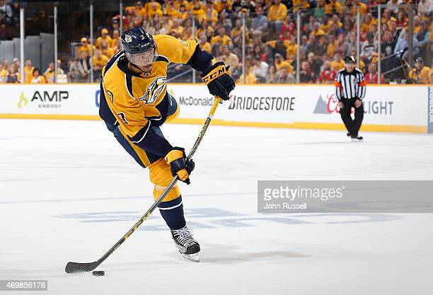 Seth Jones of the Nashville Predators scores on this shot against the Chicago Blackhawks in Game One of the Western Conference Quarterfinals during...