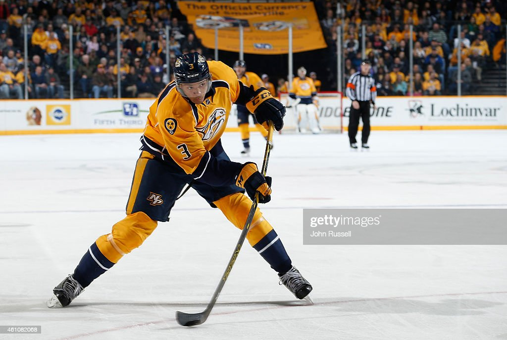 Seth Jones of the Nashville Predators shoots the puck against the St Louis Blues at Bridgestone Arena on December 30 2014 in Nashville Tennessee