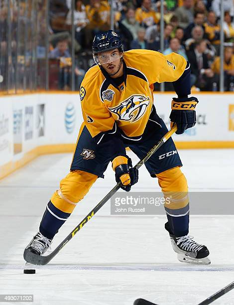Seth Jones of the Nashville Predators skates against the Carolina Hurricanes during an NHL game at Bridgestone Arena on October 8 2015 in Nashville...