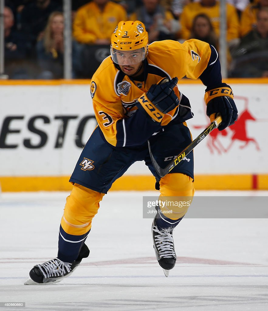 Seth Jones of the Nashville Predators skates against the Edmonton Oilers during an NHL game at Bridgestone Arena on October 10 2015 in Nashville...