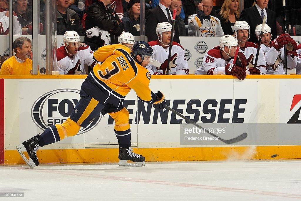 Seth Jones #3 of the Nashville Predators skates against the Phoenix Coyotes at Bridgestone Arena on November 25, 2013 in Nashville, Tennessee.