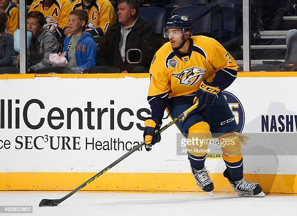 Seth Jones of the Nashville Predators skates against the Tampa Bay Lightning during an NHL game at Bridgestone Arena on October 20 2015 in Nashville...