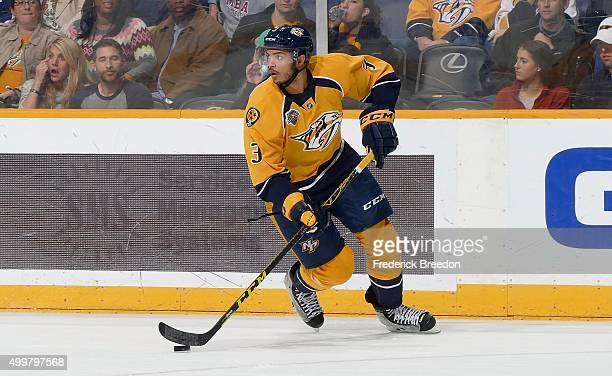 Seth Jones of the Nashville Predators skates against the Toronto Maple Leafs at Bridgestone Arena on November 12 2015 in Nashville Tennessee
