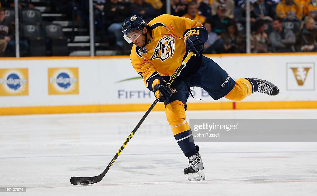 Seth Jones of the Nashville Predators skates against the Toronto Maple Leafs during an NHL game at Bridgestone Arena on November 12 2015 in Nashville...