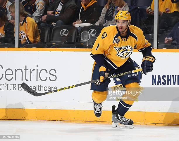 Seth Jones of the Nashville Predators skates against the Winnipeg Jets during an NHL game at Bridgestone Arena on November 14 2015 in Nashville...