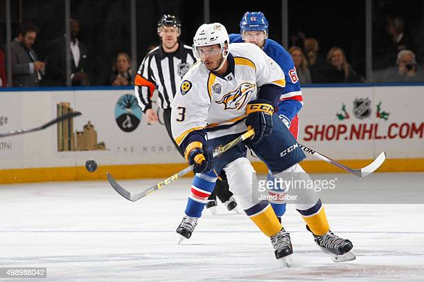 Seth Jones of the Nashville Predators skates with the puck against the New York Rangers at Madison Square Garden on November 23 2015 in New York City...