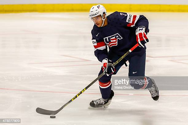 Seth Jones of USA in action during the IIHF World Championship quaterfinal match between USA and Switzerland at CEZ Arena on May 14 2015 in Ostrava...
