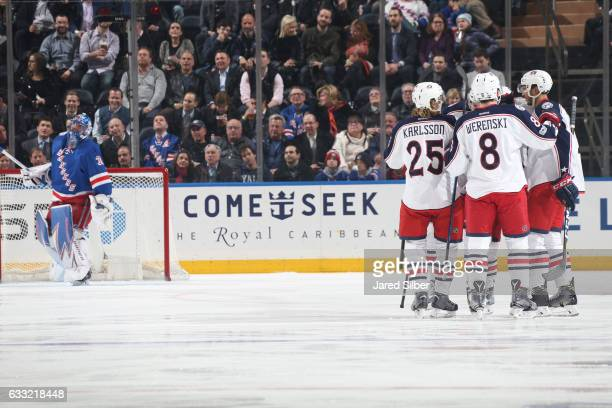 Seth Jones Zach Werenski and William Karlsson of the Columbus Blue Jackets celebrate after scoring a goal in the first period against Henrik...