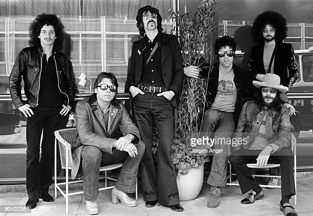 Seth Justman John Geils Peter Wolf Stephen Bladd Richard Salwitz and Danny Klein of the J Geils Band pose for a group shot in June 1972 in Copenhagen...