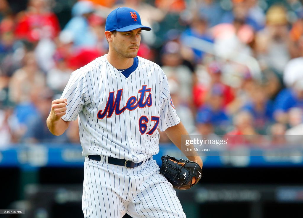 Seth Lugo #67 of the New York Mets reacts after an out in the fifth inning against the St. Louis Cardinals on July 20, 2017 at Citi Field in the Flushing neighborhood of the Queens borough of New York City.