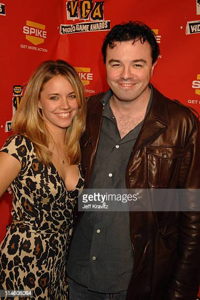 Seth MacFarlane and Jessica Barth during Spike TV's 2006 Video Game Awards Hosted By Samuel L Jackson Red Carpet at The Galen Center in Los Angeles...