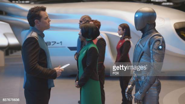 Seth MacFarlane Penny Johnson Jerald Scott Grimes Peter Macon Halston Sage and Mark Jackson in THE ORVILLE premiering this fall on FOX