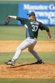 Seth McClung of the Tampa Bay Devil Rays delivers the pitch during a Spring Training game against the Pittsburgh Pirates on March 8 2007 at McKechnie...