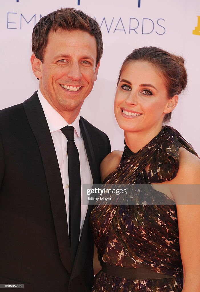 Seth Meyers and Alexi Ashe arrive at the 64th Primetime Emmy Awards at Nokia Theatre L.A. Live on September 23, 2012 in Los Angeles, California.
