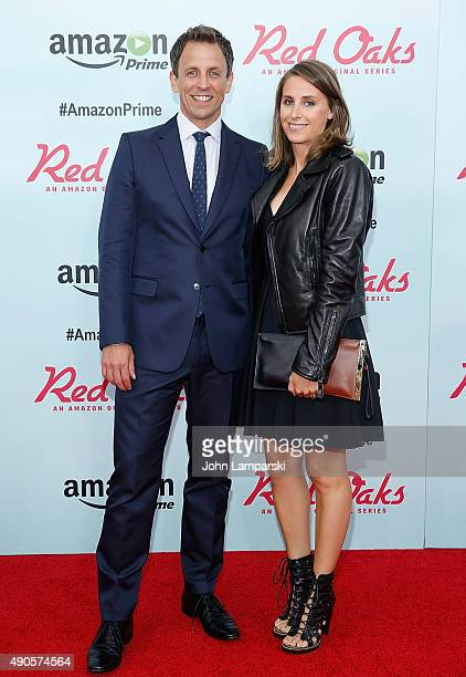 Seth Meyers and Alexi Ashe attend 'Red Oaks' series premiere at Ziegfeld Theater on September 29 2015 in New York City