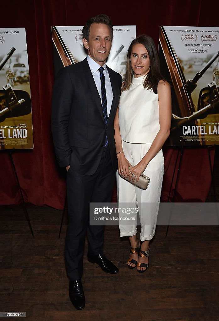 Seth Meyers and Alexi Ashe attend Seth Meyers with the Orchard and the Cinema Society Host a Special Screening of 'Cartel Land' at Tribeca Grand Hotel on June 25, 2015 in New York City.