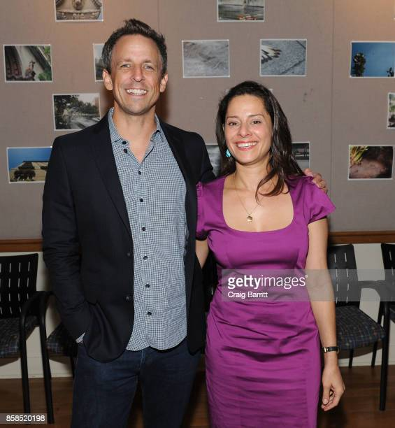 Seth Meyers and Ariel Levy pose backstage during The 2017 New Yorker Festival at New York Society for Ethical Culture on October 6 2017 in New York...