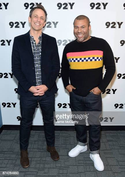 Seth Meyers and Jordan Peele attend the 92Y Presents Get Out Jordan Peele In Conversation With Seth Meyers at 92nd Street Y on November 14 2017 in...